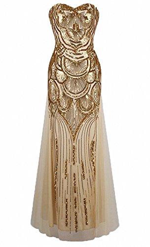 Kostüm Blendend Weißen (Damen Paillette Trägerlos Schatz Gitter Schnüren Bankett-Kleid Eingekerbt Kleid Mode Abendkleid Paillette Spalte Scheide Lange)