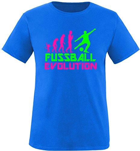 EZYshirt® Fussball Evolution Herren Rundhals T-Shirt Royal/Pink/Neongr