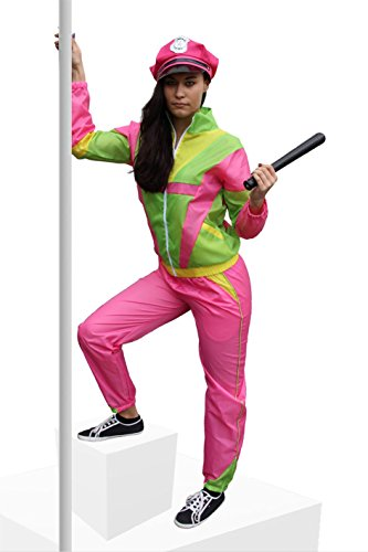 (Foxxeo 40020XL | 80er Jahre Kostüm für Damen Trainingsanzug Polizistin Polizei JGA Nerd Gr. S-XXL)
