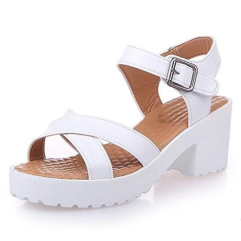 ♥ Loveso ♥ Damenschuhe 2017 Frauen Summer Open Toe 6 cm High Heel Sandalen Schuhe (40, Weiß)