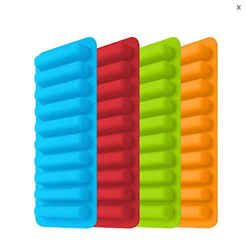 Nahrungsmittelgrad-Silikon-Eiswürfel-Formen u. Behälter-lange Streifen-Form-Schokoladen-Hersteller-Form-Finger-Kekshotdog Popsicle DIY Form @ Blau 4 Stücke Muffin-top-dosen