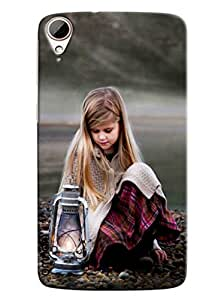 Blue Throat Girl With Lamp Hard Plastic Printed Back Cover/Case For HTC Desire 828