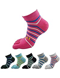 Krystle Women's Cotton Cute Casual 5 Toe Crew Athletic Finger Socks (Multicolour, Free Size) Pack of 6