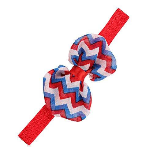 BESTOYARD Baby Mädchen Haarband amerikanische Flagge patriotische Haarband für Unabhängigkeitstag Bowknot Crown Stretch Stirnband