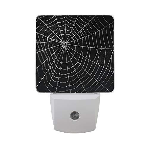 DFISKK Nachtlicht Set of 2 Pretty Scary Horror Spider Web for Halloween Holiday On Black Auto Sensor LED Dusk to Dawn Night Light Plug in Indoor for Adults (Halloween Leuchten Spider Web)