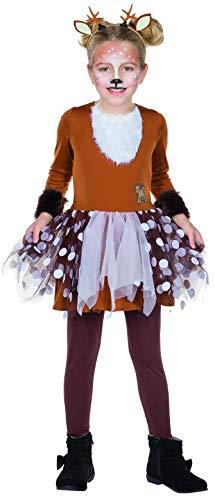 Kinder Kostüm Rehkitz Bambi Gr. 104-140 Kleid braun Tier Reh Fasching Karneval (104) (Mädchen Tier Kostüm Kleid)
