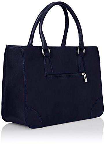 CTM Borsa Donna Elegante Classica, Stile Italiano, 36x26x18cm, Vera pelle 100% Made in Italy Blu