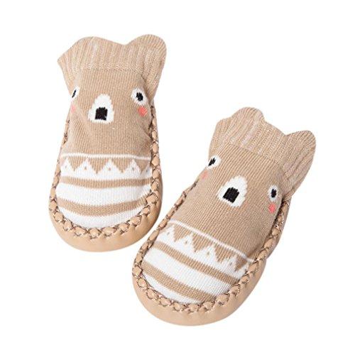 Janly Schuhe für 0-2 Jahre Baby, schöne Anti-Rutsch-Socken Slipper Neugeborenen Indoor Cartoon Tier Mokassins Stiefel Baumwolle Schuhe Junge Mädchen Socken (6-12 Monate, Khaki)