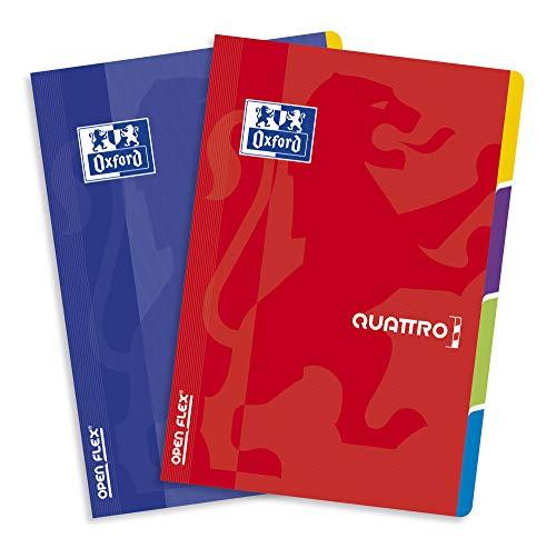 OXFORD 400107013 OPENFLEX QUATTRO A4-Heft 60 Blätter, Karo, 5 Stück-Packung, 4 Teile Polypropylen-Umschlag Farbenmix