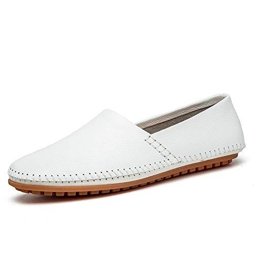 IWGRWU Leder Herren Drive Loafers Lässig Leichtes Leder Atmungsaktiv EIN Fußpedal Boot Mokassins Kleid Schuhe Schuhe (Color : Weiß, Größe : 45 EU)