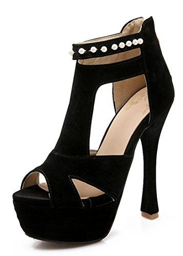 ... Reißverschluss Ankle Boots Schwarz. YE Frauen Peep Toe 14 cm Absatz  High Heels Plattform Wildleder Nubukleder Perlen Sommer Sandalen Schuhe fa38e7d331