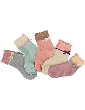 Ndier 5 Pares/Conjunto Niñas Calcetines Infantil Algodón Calcetines Lindo para Mujeres Chicas