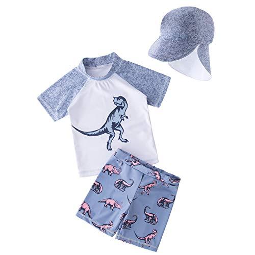 AMIYAN Kinder Jungen Schwimmanzug Badenmode Sets Kleinkinder Niedlich Dinosaurier Badeanzug mit Badekappe UPF 50+ (12-24 Monate)