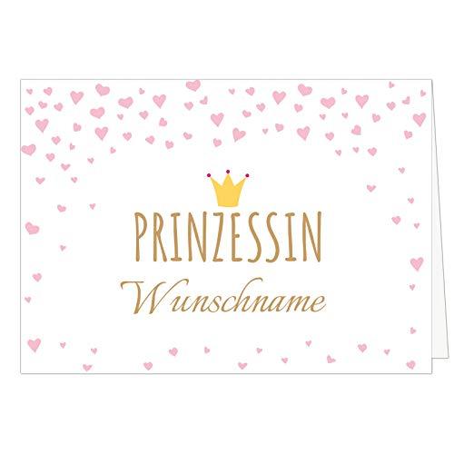 PERSONALISIERTE Din A4 XXL Karte für Mädchen, rosa - PRINZESSIN und Wunsch-Name - Übergroße Klappkarte zum Geburtstag, zur Geburt, Willkommen zu Hause, Deko Kinderzimmer