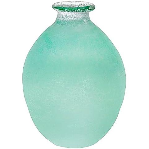 """Vaso, vaso a forma di bottiglia, vaso in vetro """"COLORI"""", giada patina, H=13 cm, Ø 9,5 cm, formato a mano, vetro soffiato, stile moderno (ART GLASS powered by CRISTALICA)"""