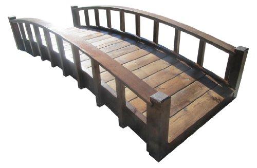 SAMS-Pavillons Moon Bridges Japanischer Stil gewölbtes Holz Gartenbrücken, 2,4 m, Braun