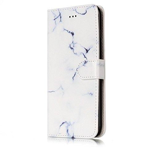 EUWLY Custodia Cover per iPhone 7/iPhone 8 (4.7), Bello Dipinto Disegno PU Pelle Portafoglio Custodia Creativo Colorato Marmo Pattern Protettiva Cover Case Supporto Stand Slot Holder Protezione Coper Modello Marmo,Bianco