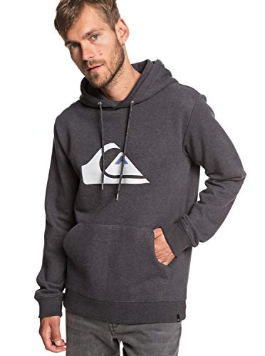 Quiksilver Herren Big Logo Hood Fleece Top, Dark Grey Heather, L -