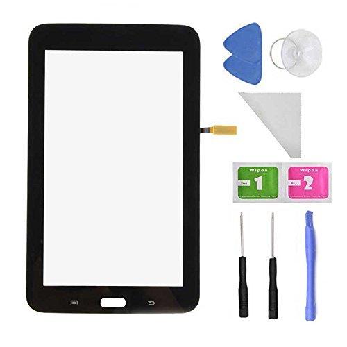 7 Galaxy 3 Ersatz-bildschirm Tab (Schwarze Touch Digitizer Bildschirm REPLACEMEN für Samsung Galaxy Tab 3Lite 7.0T110SM-T110(ohne Ohrhörer Loch, Schwarze) + vorinstalliert selbstklebend mit Werkzeug)