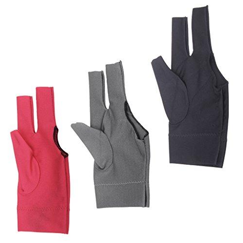 Gazechimp 3 Stück Linke Hand Billiard Handschuhe - Billiard Zubehör, Professionelle Drei Finger Handschuh