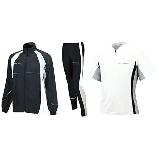 Airtracks FUNKTIONS-LAUFSET - Tight-LANG + T-Shirt Kurzarm + Laufjacke - Weiss-schwarz - M (Schwarz Kurzarm Erwachsene T-shirt)