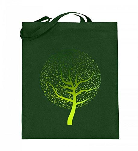 Hochwertiger Jutebeutel (mit langen Henkeln) - Music Tree Green
