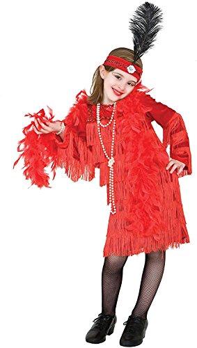 Party Pariser Kostüm - Chiber - 20er Jahre Charleston Karneval Kostüm Mädchen Rot (Größe: 9)