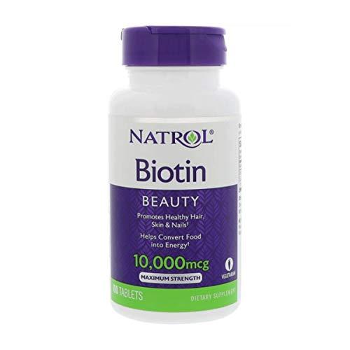 Mcg Nahrungsergänzungsmittel (Natrol Biotin 10000 mcg Haar, Haut & Nägel Nahrungsergänzungsmittel 100 Kapseln)