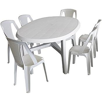 Amazon.de: 7tlg. Gartenmöbel Set Kunststoff Weiß - Gartentisch ...