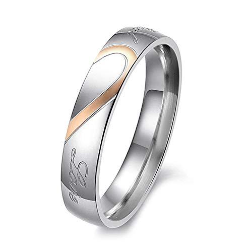 Glomab Titan Stahl Paar Ring, Männer und Frauen echte Liebe Herz Titan Stahl Band Ring Valentine Love Paare Hochzeit Verlobungsringe