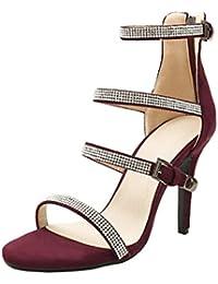 Coolulu Damen High Heels Stiletto Sandaletten mit Knöchelriemen  Reißverschluss Hinten Pumps und Strass Riemchen Sandalen Sommer a0c46c58cf