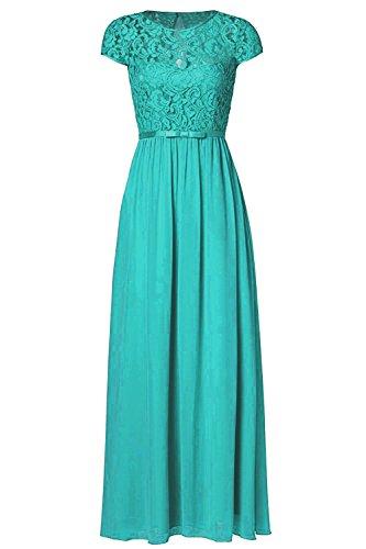 ssyiz Vintage da donna a maniche corte pizzo floreale chiffon vestito damigella d' onore (fornire le dimensioni, Custom Dress) Malachite green XXXL