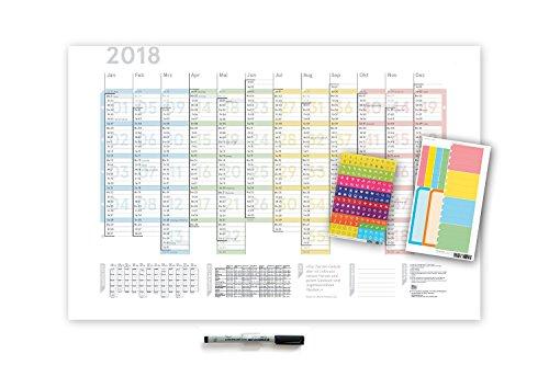 Colour 2018, DIN A1, abwischbar, mit der innovativen Wochenordnung! 4x Powerstrip! Lieferung gerollt! (Sie Alle Feiertage In Ordnung)