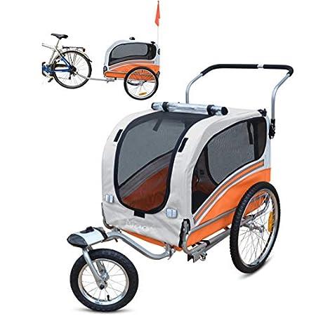 Papilioshop Argo Hundeanhänger hundewagen fahrradanhänger für Hunde S-M-L (Orange medium)