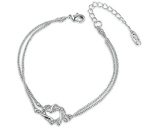 anazoz Fashion Jewelry Bracelet Femme Plaqué or Bracelets pour Femme forme ronde CZ couleur argent en forme de cœur 22x 1,2cm