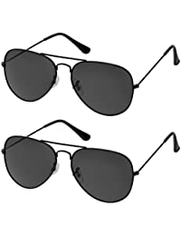 Sheomy Combo Of Black And Black UV Protected Sport Unisex Sunglasses With 2 Box (Sun-013) Best Online Gifts