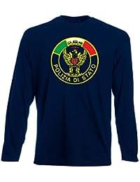 di Navy Shirt T Blu Uomo Polizia Stato Manica Lunga TM0602 dI8wfq
