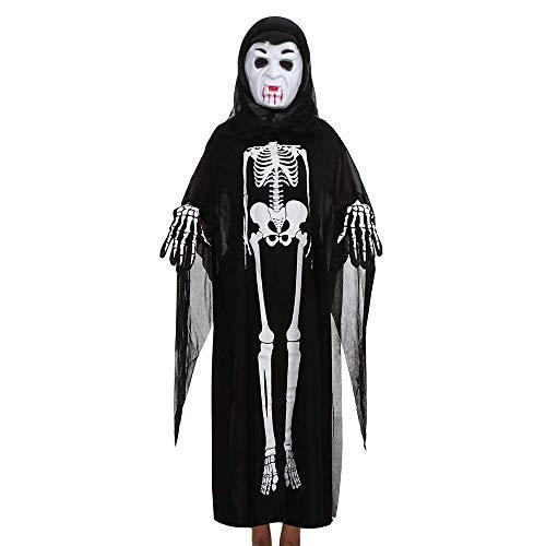 (Qiusa Halloween Frauen Männer Cosplay Kostüm Mantel Maske Handschuhe Familie Outfits Set (Farbe : F))