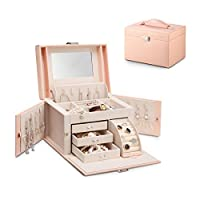 Vlando Faux Leather Jewellery Box Organiser with Mirror Necklace Ring Storage Case Birthday Gift Wedding Gift