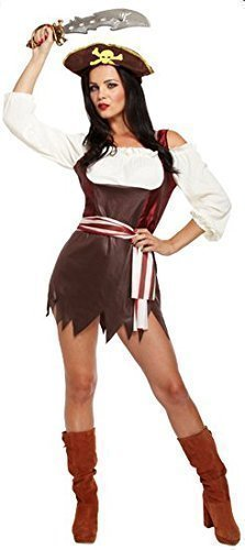 Damen Sexy Piratenbraut + Hut Bösewicht Halloween Kleid Party Kostüm Outfit UK 8-12