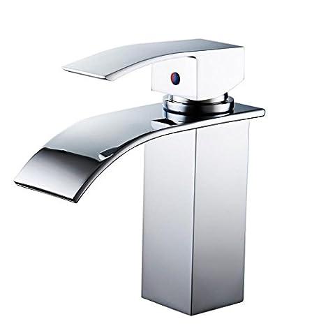JHYS Chute d'eau à une poignée Robinet de salle de bain chromé Robinet de lavabo Ensemble de robinetterie