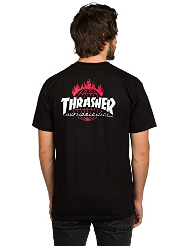 Herren T-Shirt HUF X Thrasher TDS T-Shirt Black