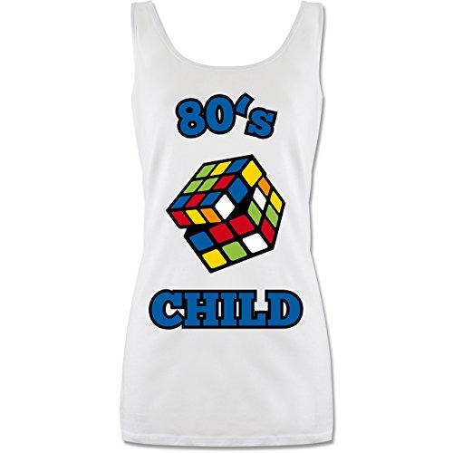 Statement Shirts - 80's Child - Zauberwürfel - S - Weiß - P72 - lang-geschnittenes Tanktop für Damen