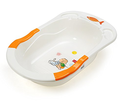 LuvLap Baby Bathtub with Antislip - Orange