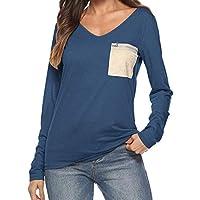 Geili Bluse Damen,Frauen Damen Herbst V-Ausschnitt Zip Pocket Langarm Lose Beiläufige T-Shirt Tops Bluse Bequeme... preisvergleich bei billige-tabletten.eu