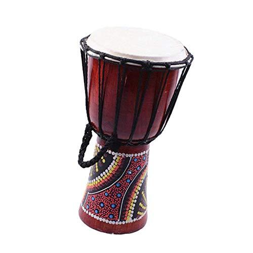 SGerste Finest 1 Set Kirsche Djembe Traditionelle afrikanische Handtrommel mit Drumstick-Gurt 15,2 cm - Afrikanische Kirsche