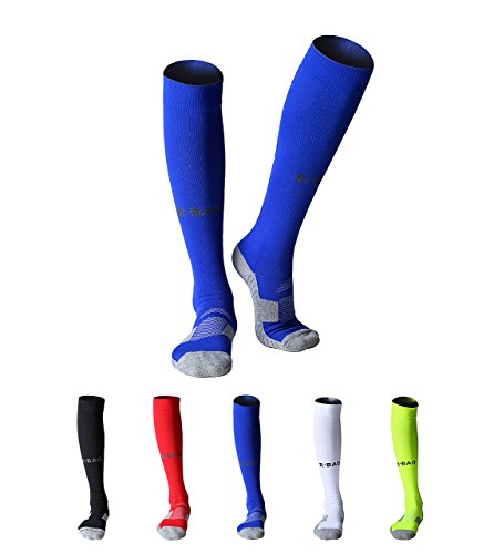 MAIBU 2-Pack Herren Sportsocken weicher Baumwolle gepolstert Kompression Fußball Basketball Running Socken ÜbungCompression Football Basketball Running Exercise Socks (Blue-stripe-team Light)