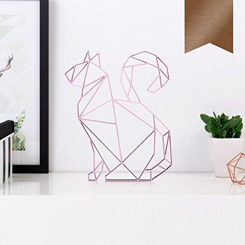 KLEINLAUT 3D-Origamis aus Holz - Wähle Ein Motiv & Farbe - Katze - 16,5 x 20 cm (M) - Kupfer