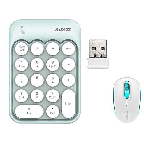 ILkeyko Kabellose Mini-Tastatur-Maus-Combo für die Buchhaltung Compact 18 Key (Farbe : Mint Green) Combo Green Compact