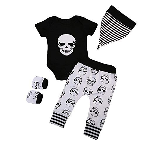 (Riou Kinder Langarm Halloween Kostüm Top Set Baby Kleidung Set Kleinkind 4pcs Infant Halloween Baby Knochen Print Strampler + Hosen + Hut + Handschuhe Set Kleidung (100, Schwarz))